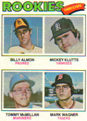1977 Topps Baseball Cards      490     Billy Almon/Mickey Klutts/Tommy McMillan/Mark Wagner RC
