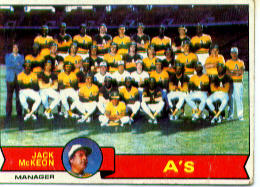 1979 Topps Baseball Cards      328     Oakland Athletics CL/Jack McKeon