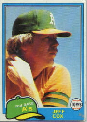 1981 Topps Baseball Cards      133     Jeff Cox RC