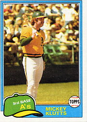 1981 Topps Baseball Cards      232     Mickey Klutts
