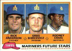 1981 Topps Baseball Cards      282     Rick Anderson/Greg Biercevicz/Rodney Craig RC