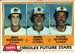 1981 Topps Baseball Cards      399     Mike Boddicker/Mark Corey/Floyd Rayford RC