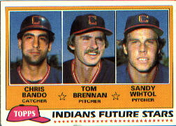 1981 Topps Baseball Cards      451    Chris Bando/Tom Brennan/Sandy Wihtol RC