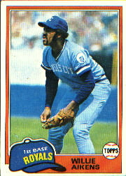 1981 Topps Baseball Cards      524     Willie Aikens