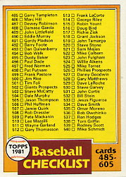 1981 Topps Baseball Cards      562     Checklist 485-605