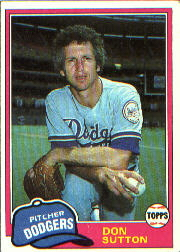 1981 Topps Baseball Cards      605     Don Sutton