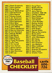 1981 Topps Baseball Cards      638     Checklist 606-726