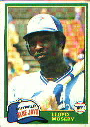 1981 Topps Baseball Cards      643     Lloyd Moseby RC