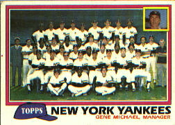 1981 Topps Baseball Cards      670     Yankees Team CL#{Gene Michael MG