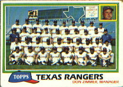 1981 Topps Baseball Cards      673     Rangers Team CL#{Don Zimmer MG