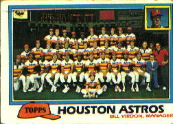 1981 Topps Baseball Cards      678     Astros Team CL#{Bill Virdon MG