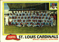 1981 Topps Baseball Cards      684     Cardinals Team/Mgr.#{Whitey Herzog#{(Checklist bac