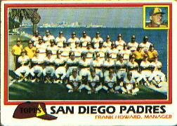 1981 Topps Baseball Cards      685     Padres Team CL#{Frank Howard MG