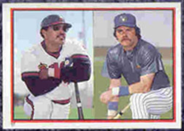 1983 Topps Baseball Stickers     017      Reggie Jackson and#{Gorman Thomas