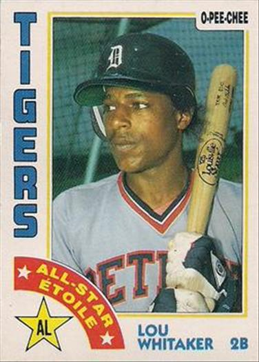 1984 O-Pee-Chee Baseball Cards 181     Lou Whitaker AS