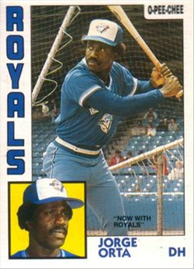 1984 O-Pee-Chee Baseball Cards 312     Jorge Orta#{Now with Royals