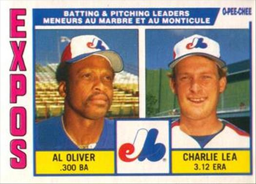 1984 O-Pee-Chee Baseball Cards 332     Expos Leaders#{Al Oliver#{Charlie Lea#{(Team check