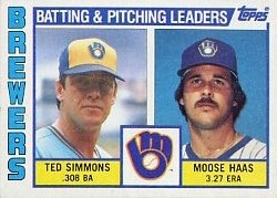 1984 Topps      726     Brewers TL#{Ted Simmons#{Moose Haas#{(Checklist on