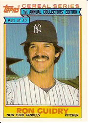 1984 Topps Cereal       031      Ron Guidry