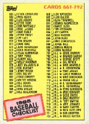 1985 Topps Baseball Cards      784     Checklist: 661-792