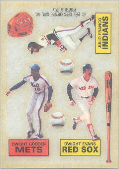 1985 Topps Rub Downs Baseball Cards