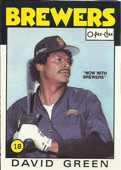 1986 O-Pee-Chee Baseball Cards 122     David Green#{Now with Brewers