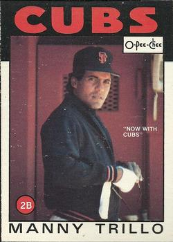 1986 O-Pee-Chee Baseball Cards 142     Manny Trillo#{Now with Cubs