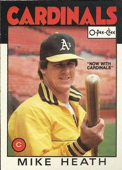 1986 O-Pee-Chee Baseball Cards 148     Mike Heath#{Now with Cardinals