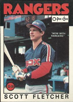 1986 O-Pee-Chee Baseball Cards 187     Scott Fletcher#{Now with Rangers