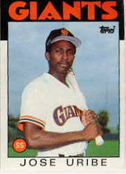 1986 Topps Baseball Cards      012      Jose Uribe
