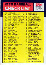 1986 Topps Baseball Cards      131     Checklist: 1-132