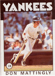 1986 Topps Baseball Cards      180     Don Mattingly