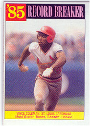 1986 Topps Baseball Cards      201     Vince Coleman RB#{Most stolen bases&#{season& rook