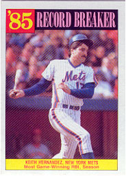1986 Topps Baseball Cards      203     Keith Hernandez RB