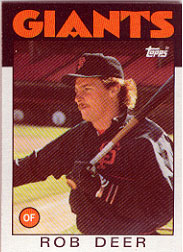 1986 Topps Baseball Cards      249     Rob Deer