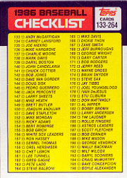 1986 Topps Baseball Cards      263     Checklist: 133-264