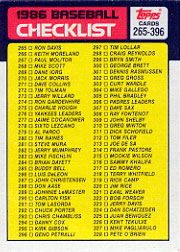 1986 Topps Baseball Cards      394     Checklist: 265-396