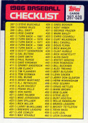 1986 Topps Baseball Cards      527     Checklist: 397-528