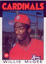 1986 Topps Baseball Cards      580     Willie McGee