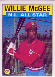 1986 Topps Baseball Cards      707     Willie McGee AS