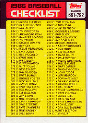 1986 Topps Baseball Cards      791     Checklist: 661-792