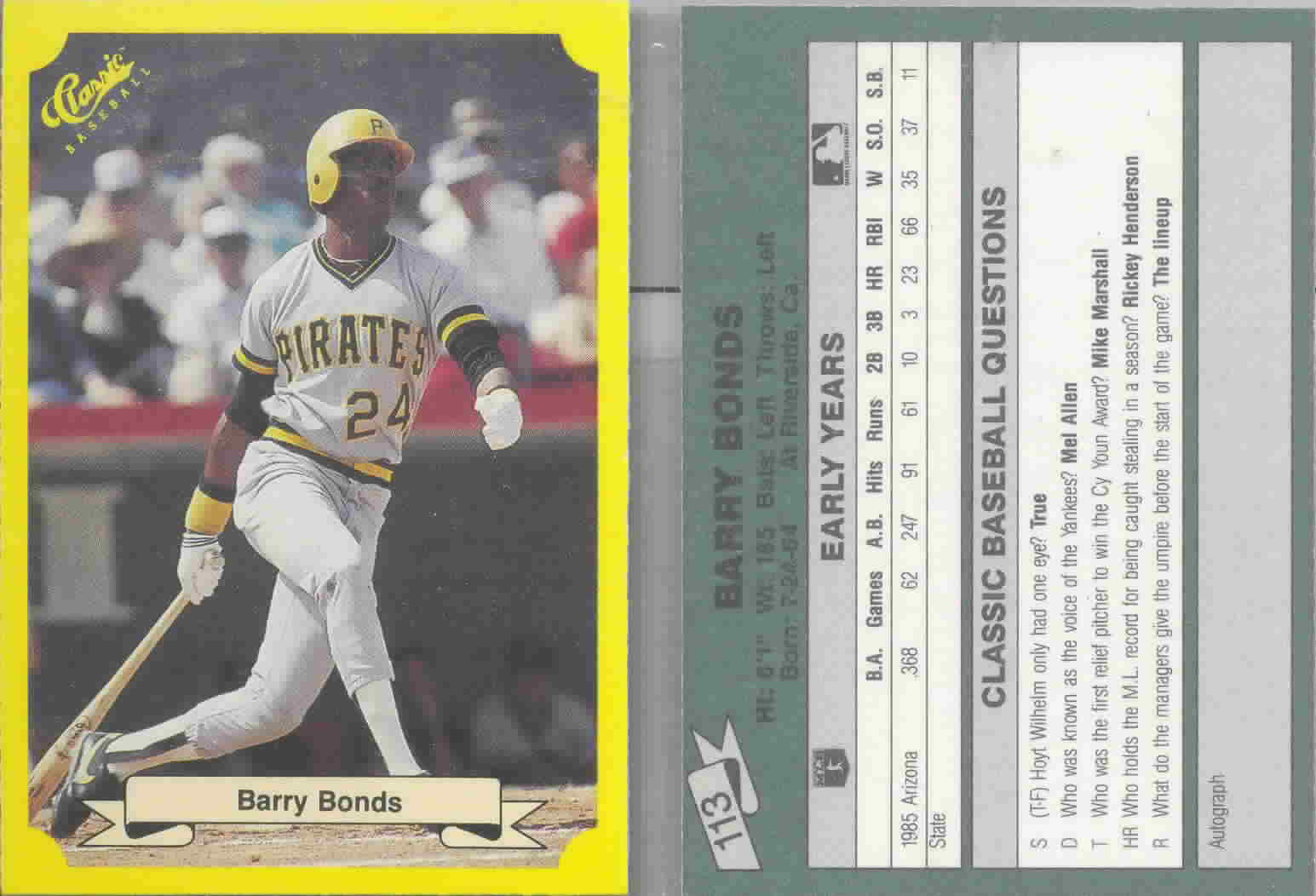 1987 Classic Update Yellow/Green Backs Baseball Cards