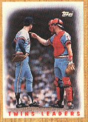 1987 Topps Baseball Cards      206     Twins Team#{(Frank Viola and#{Tim Laudner)