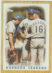 1987 Topps Baseball Cards      431     Dodgers Team#{(Mound conference)