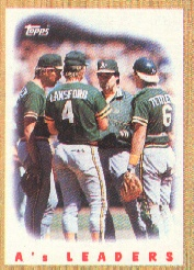 1987 Topps Baseball Cards      456     A s Team#{(Mound conference)