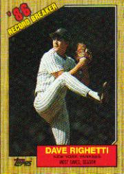 1987 Topps Baseball Cards      005      Dave Righetti RB#{Most saves& season
