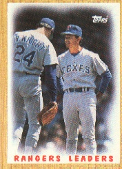 1987 Topps Baseball Cards      656     Rangers Team#{(Bobby Valentine MG#{and Ricky Wrigh