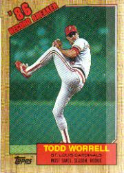 1987 Topps Baseball Cards      007      Todd Worrell RB#{Most saves&#{season& rookie
