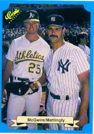 1988 Classic Blue Baseball Cards       247     Mark McGwire and#{Don Mattingly#{(Unnumbered; game
