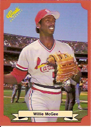 1988 Classic Red Baseball Cards        173     Willie McGee
